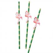 Pailles bambou flamant rose - Lot de 20