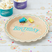 Assiettes kraft color Happy birthday