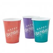 Gobelets mix color happy birthday