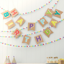 Guirlande fanions kraft color happy birthday