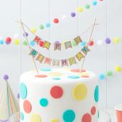 Cake topper guirlande kraft color happy birthday