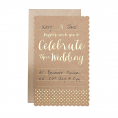 Cartons invitations mariage kraft et or - Lot de 10