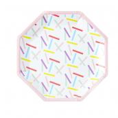 Assiettes confettis rectangles colors