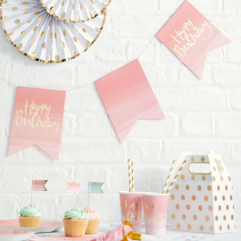 Guirlande fanions dégradé rose et or happy birthday
