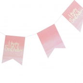 Guirlande fanions dégradé rose et or happy birthday