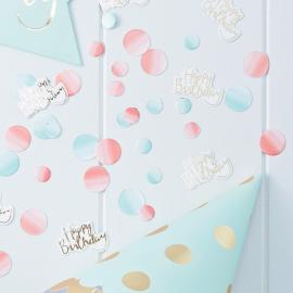 Confettis dégradé rose et bleu happy birthday