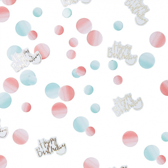 Confettis dégradé rose et bleu happy birthday