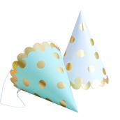 Chapeaux de fête pois or - Lot de 6