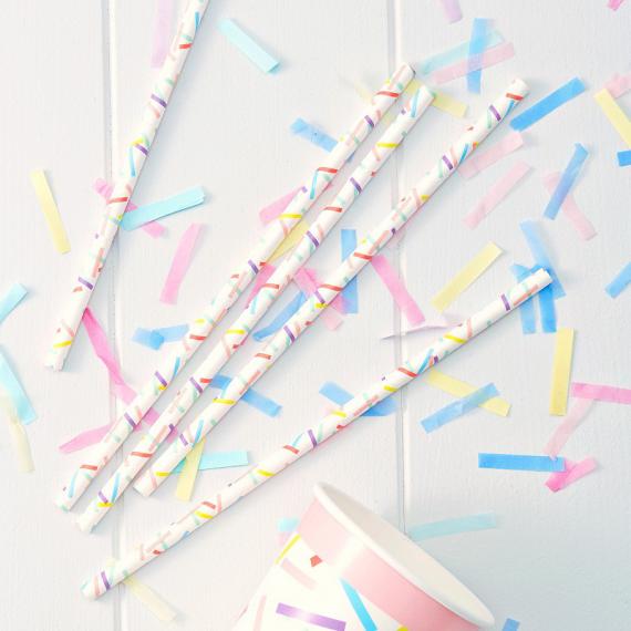 Pailles confettis rectangles colors - Lot de 25
