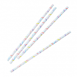 Pailles confettis rectangles colors - Lot de 25