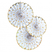 Rosaces papier blanches pois or