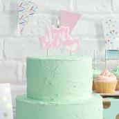 Bougie cake topper rose happy birthday
