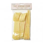 Couverts plastique pastel jaune - Lot de 24