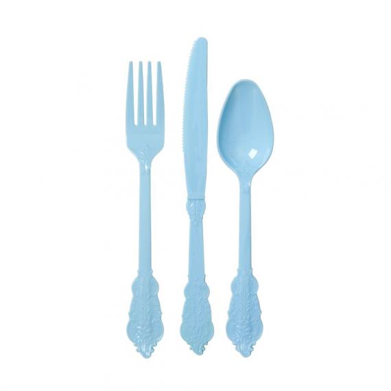 Couverts plastique pastel bleu - Lot de 24
