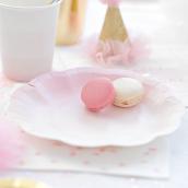 Assiettes rose et or