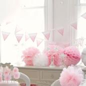 Guirlande fanions rose aquarelle
