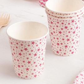 Gobelets blancs étoiles rose fuchsia