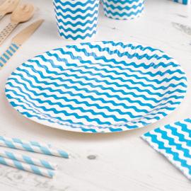 Assiettes blanches croquet bleu