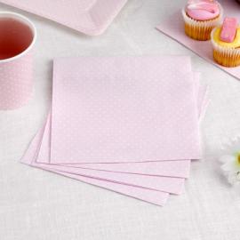 Serviettes papier rose petits pois blancs