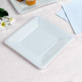 Assiettes carrée bleue petits pois blancs