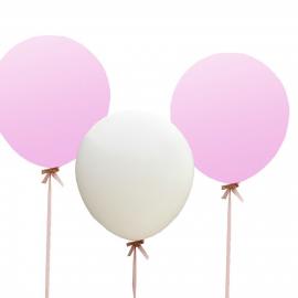 Ballons blancs et roses géants - Lot de 3