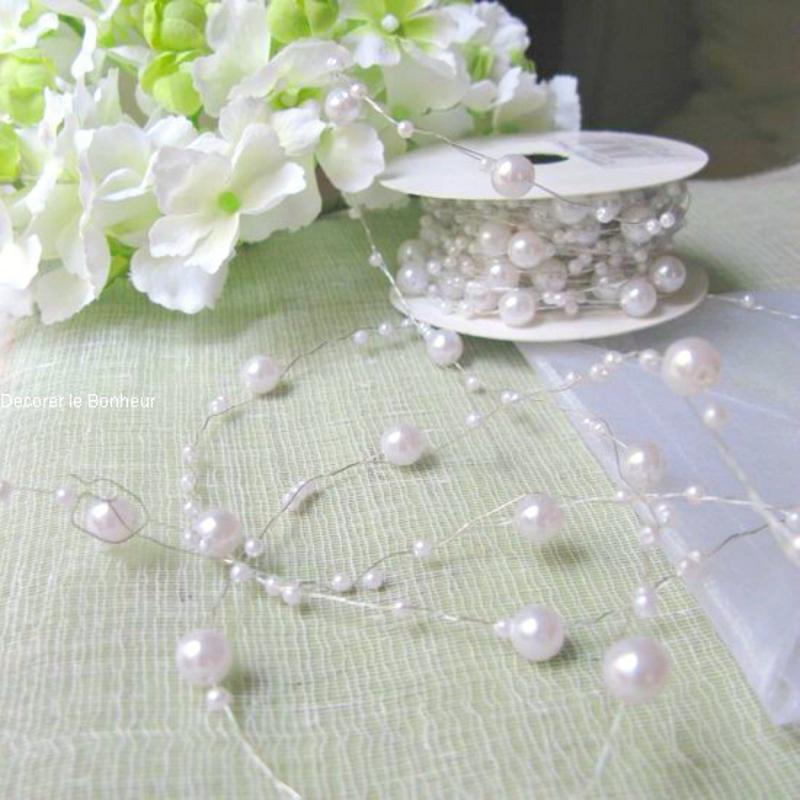 Decoration table mariage bobine guirlande de perles blanches for Perle decoration