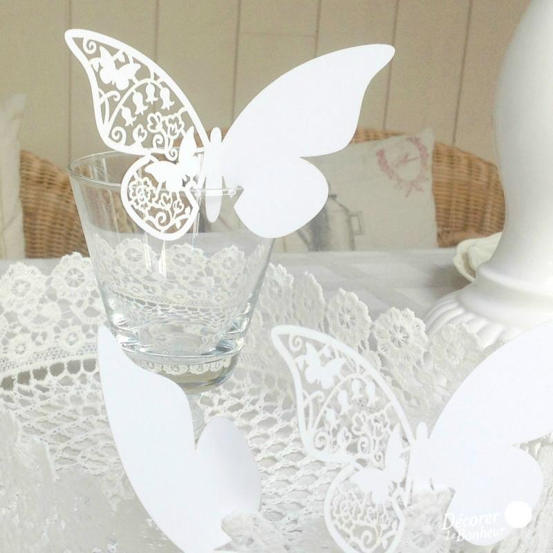 Decoration table marque place papillon dentelle - Decoration table reveillon jour de l an ...