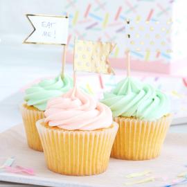 Piques fanions cupcake pois blancs et or