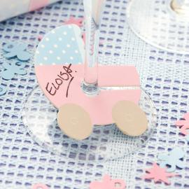 Marque-places landau bébé pastel
