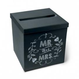 Urne style vintage ardoise Mr & Mrs