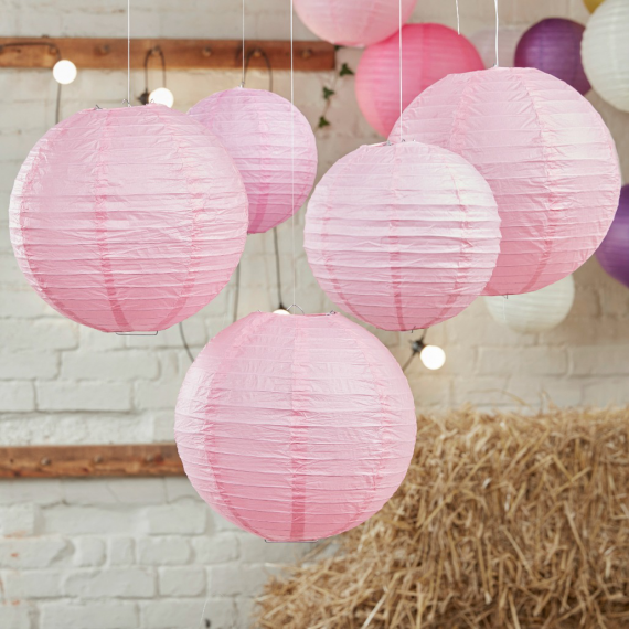 Lanternes papier rose tendre