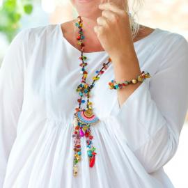 Collier perles de verre bohème