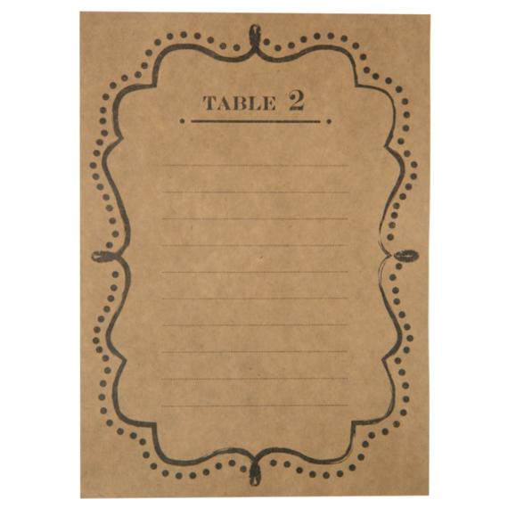 Plans de table rétro kraft