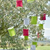 Lampions accordéon rose