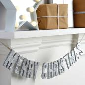 Guirlande Merry Christmas paillettes argent
