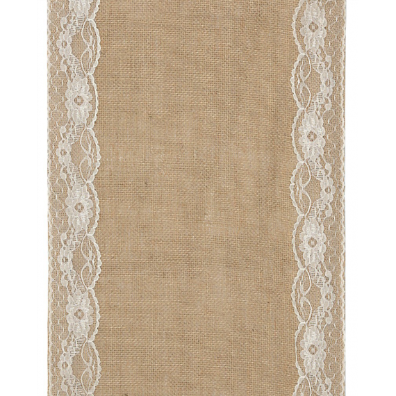 Chemin de table jute large dentelle blanche
