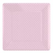 Assiettes carrée rose petits pois blancs