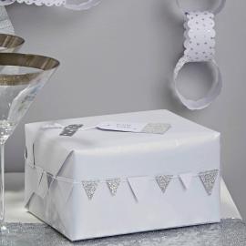 Guirlande mini fanions paillettes argent et blanc