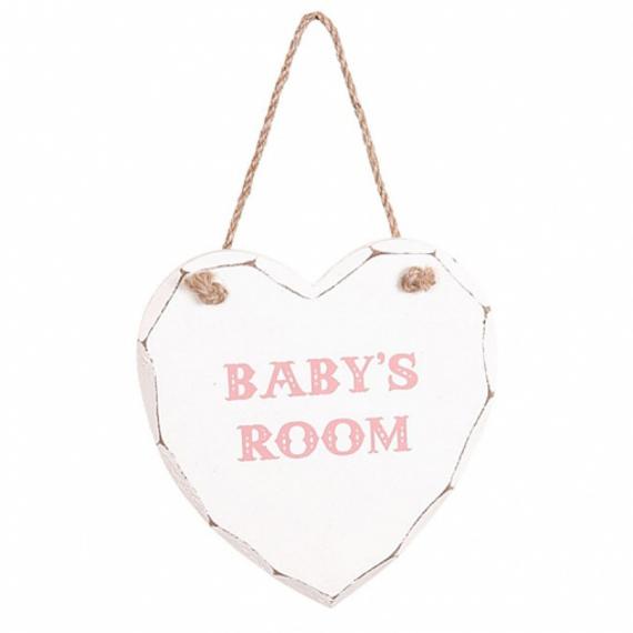 Pancarte Coeur baby's room rose