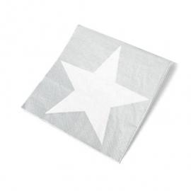Serviettes papier étoiles argent