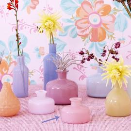 Vase verre opaline rose poudré