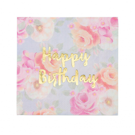 Serviettes papier fleurs vintage Happy Birthday