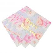 Serviettes papier fleurs vintage Happy Birthday