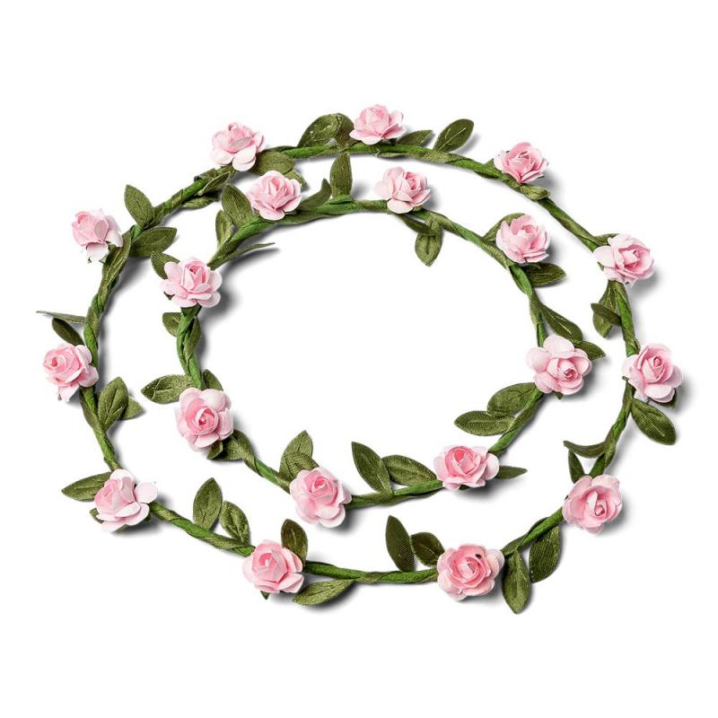 Couronnes de fleurs roses duo for Couronne de fleurs