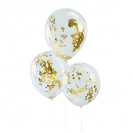 Ballons transparents confettis or