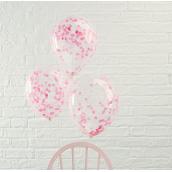 Ballons transparents confettis rose