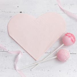 Serviettes papier coeur rose tendre