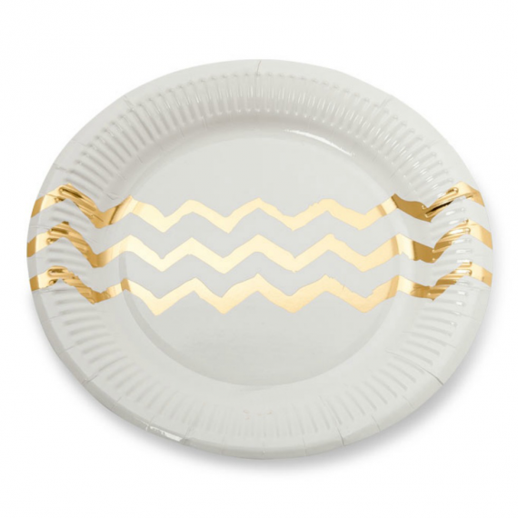 Assiettes blanches chevrons or