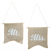 Fanions jute rétro Mr & Mrs - Lot de 2