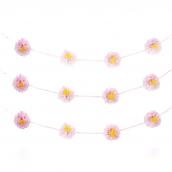 Guirlande pompoms fleurs rose